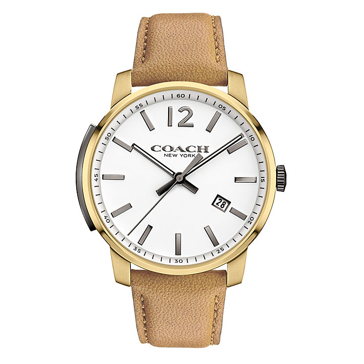 Coach Men's Gold-tone Slim White Dial Strap Watch - Product number 3585034