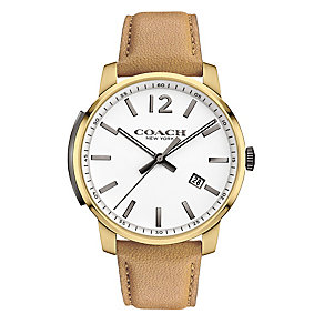 Coach Men's Gold-plated Slim White Dial Strap Watch - Product number 3585034