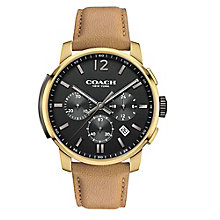 Coach Men's Gold-tone Chronograph Black Dial Strap Watch - Product number 3585050