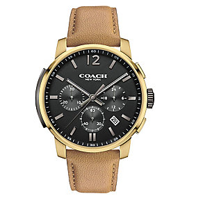 Coach Men's Gold-plated Chronograph Black Dial Strap Watch - Product number 3585050