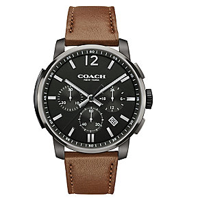 Coach Men's Ion-plated Chronograph Grey Dial Strap Watch - Product number 3585069