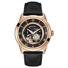 Bulova Auto men's rose gold-plated black leather strap watch - Product number 3588742
