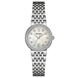Bulova Diamond Gallery ladies' stainless steel watch