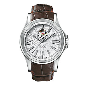 Bulova Kirkwood men's stainless steel leather strap watch - Product number 3595242