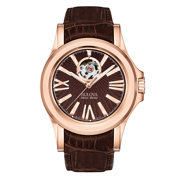 Bulova Kirkwood men's rose gold tone leather strap watch - Product number 3595269