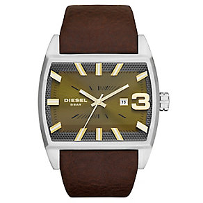 Diesel Men's Rectangular Dial & Brown Leather Strap Watch - Product number 3595455