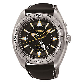 Seiko Kinetic GMT Men's Black Dial Black Leather Strap Watch - Product number 3595862