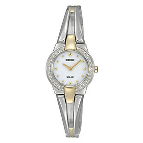 Seiko Solar Ladies' Stone Set Stainless Steel Bracelet Watch - Product number 3595870