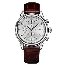 Bulova Gemini men's stainless steel leather strap watch - Product number 3595889