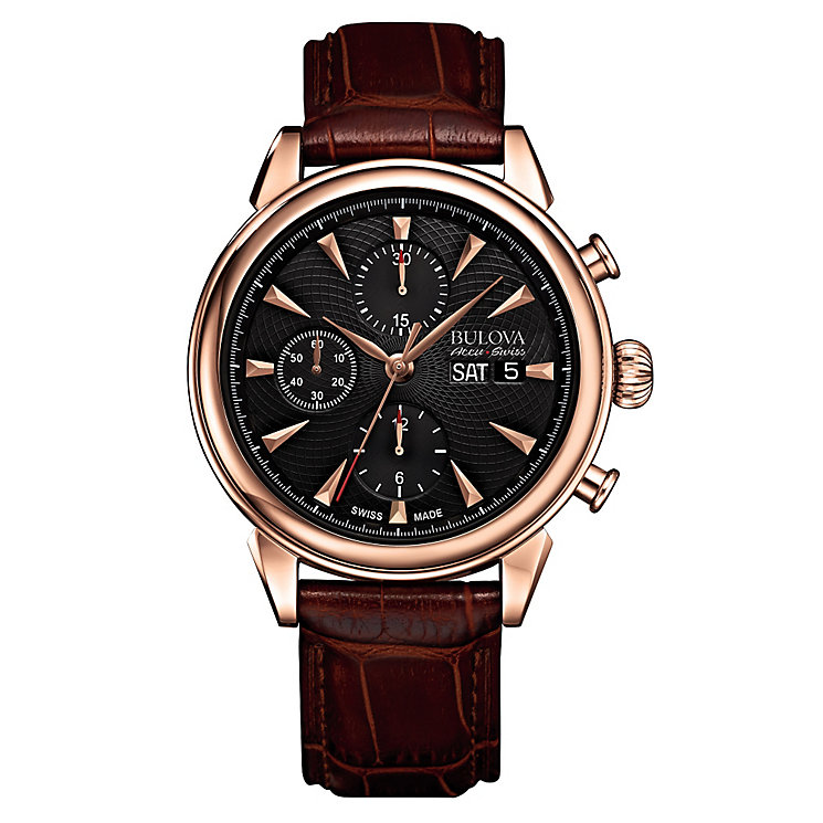 Bulova Gemini men's rose gold tone leather strap watch - Product number 3595897