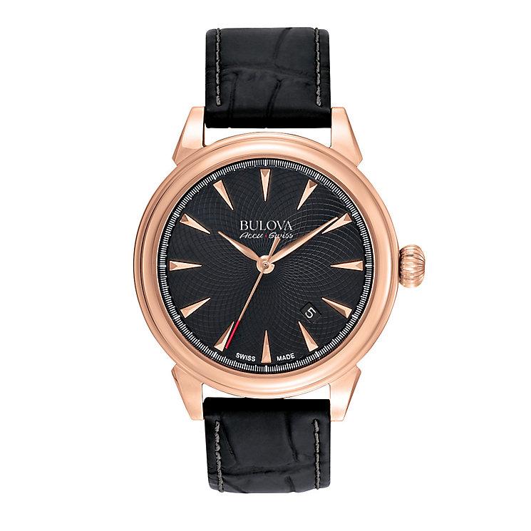 Bulova Gemini men's rose gold tone black strap watch - Product number 3595951