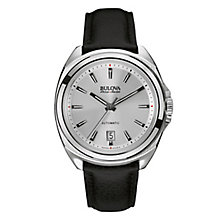 Bulova Telc men's stainless steel black leather strap watch - Product number 3595986