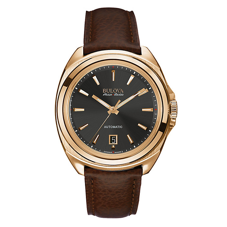Bulova Telc men's rose gold tone brown leather strap watch - Product number 3595994
