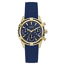 Guess Ladies' Yellow Gold Plate & Blue Silicone Strap Watch - Product number 3596001