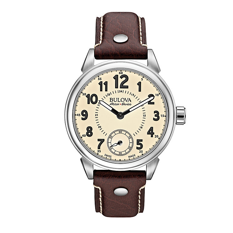 Bulova Military men's stainless steel brown strap watch - Product number 3596052