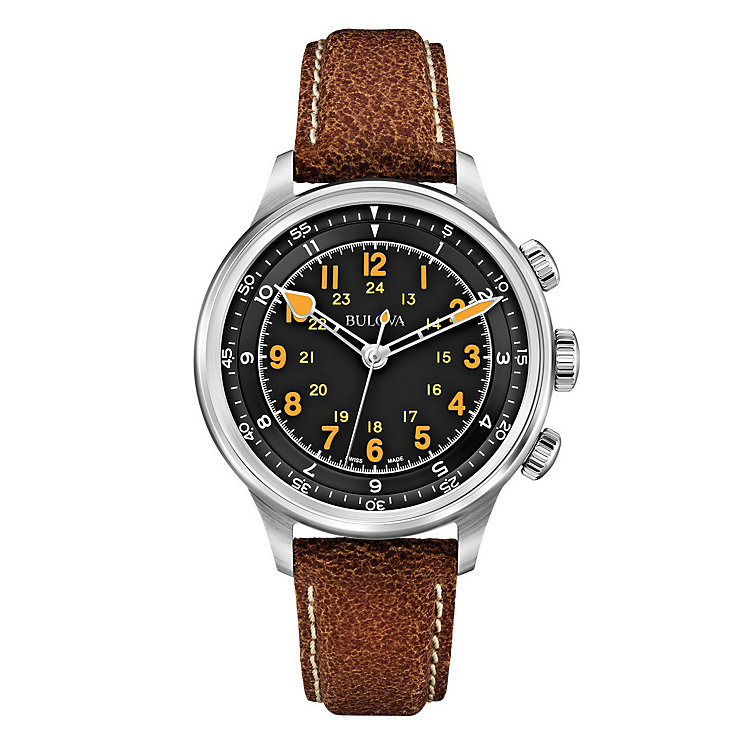 Bulova A15 men's stainless steel black leather strap - Product number 3596060