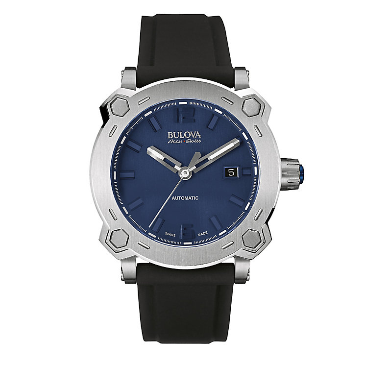 Bulova Percheron stainless steel black rubber strap watch - Product number 3596079