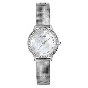 Guess Ladies' Stainless Steel & Mother Of Pearl Mesh Watch - Product number 3596087