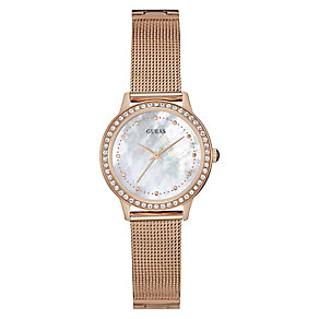 Guess Ladies' Rose Gold Plate & Mother Of Pearl Mesh Watch - Product number 3596109