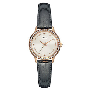 Guess Ladies' Rose Gold Plate & Grey Leather Strap Watch - Product number 3596125