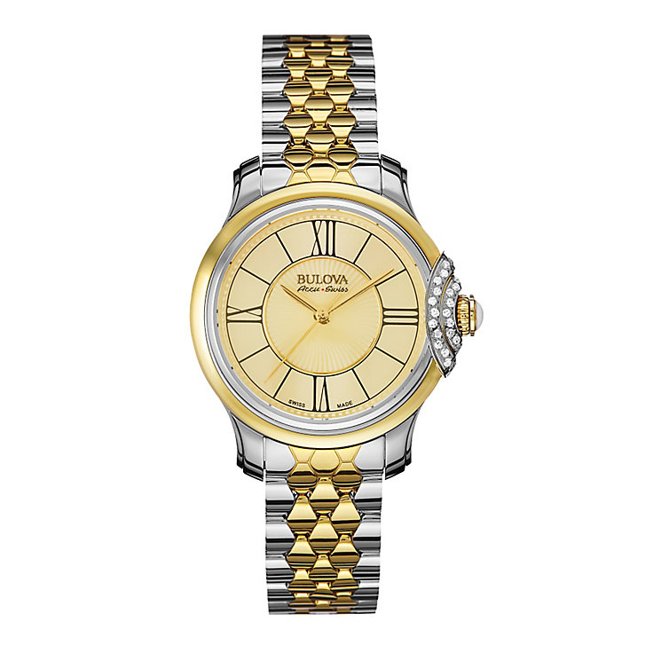 Bulova Belle ladies' two colour stone set bracelet watch - Product number 3596133