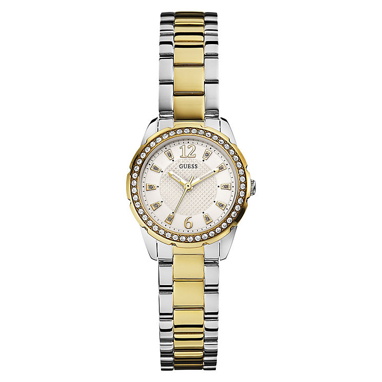 Guess Ladies' Two Tone Stone Set Bracelet Watch - Product number 3596206