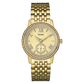 Guess Ladies' Yellow Gold Plated & Stone Set Bracelet Watch - Product number 3596427