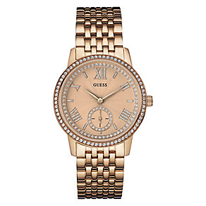 Guess Ladies' Rose Gold Plated & Stone Set Bracelet Watch - Product number 3596435