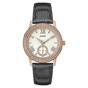 Guess Ladies' Rose Gold Plated & Grey Leather Strap Watch - Product number 3596478