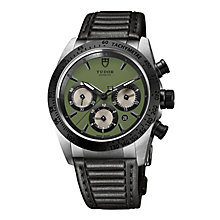 Tudor Fastrider Men's Green Dial Black Leather Strap Watch - Product number 3596648