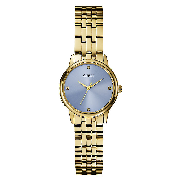 Guess Ladies' Blue Dial Yellow Gold Plated Bracelet Watch - Product number 3596672