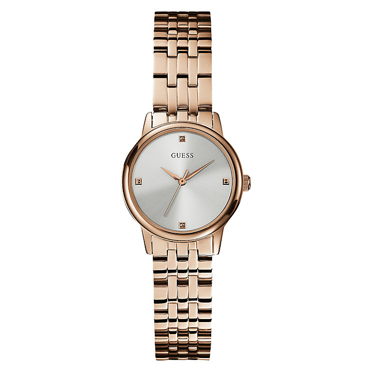 Guess Ladies' Grey Dial Rose Gold Plated Bracelet Watch - Product number 3596680