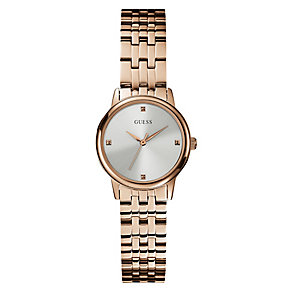 Guess Ladies' Blue Dial Yellow Gold Plated Bracelet Watch - Product number 3596680