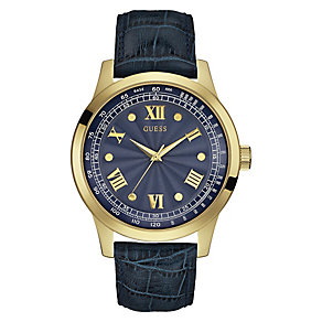 Guess Ladies' Yellow Gold Plate & Blue Leather Strap Watch - Product number 3597083