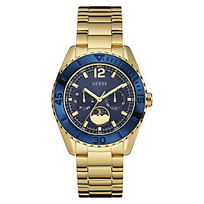 Guess Ladies' Yellow Gold Plated Blue Dial Bracelet Watch - Product number 3597369