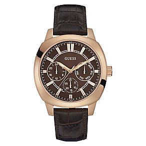 Guess Men's Rose Gold Plated Brown Leather Strap Watch - Product number 3597717