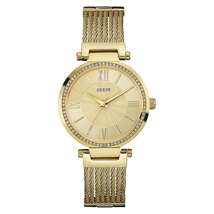 Guess Ladies' Yellow Gold Plated Rope Style Watch - Product number 3597822