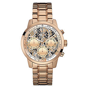 Guess Ladies' Snakeskin Dial & Rose Gold Plated Watch - Product number 3597830