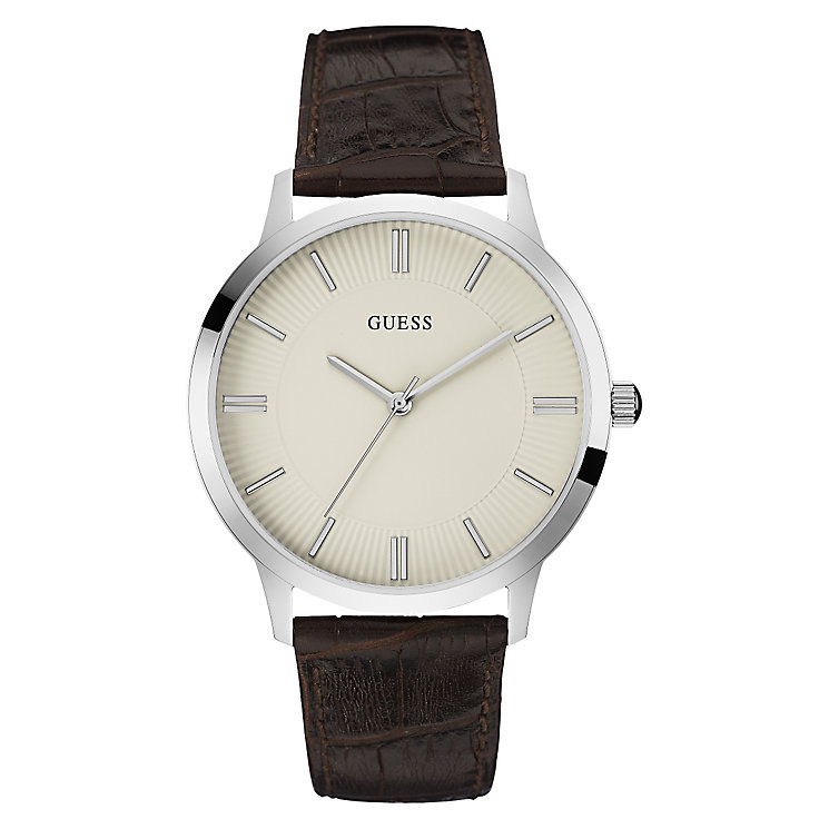 Guess Men's Stainless Steel & Brown Leather Strap Watch - Product number 3597857