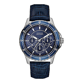 Guess Men's Blue Dial Blue Leather Strap Watch - Product number 3597911