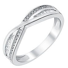 Platinum diamond round & baguette cross over band - Product number 3600440
