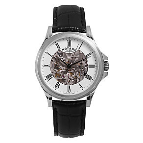 Rotary men's stainless steel skeleton leather strap watch - Product number 3612902