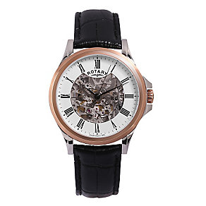 Rotary men's rose-gold plated skeleton strap watch - Product number 3612929