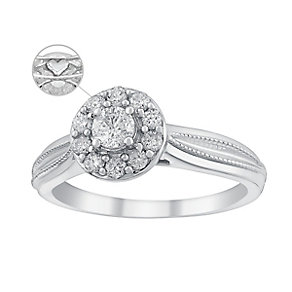 9ct White Gold 2/5 Carat Diamond Round Halo Ring - Product number 3619621