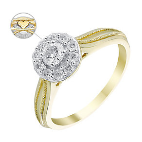 9ct Yellow Gold 2/5 Carat Diamond Round Halo Ring - Product number 3619974