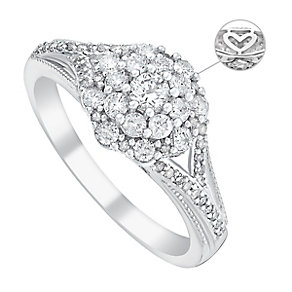 9ct White Gold Half Carat Diamond Cluster Ring - Product number 3620611