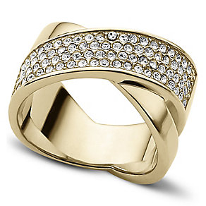 Michael Kors gold-plated pave cross over ring - Product number 3621340
