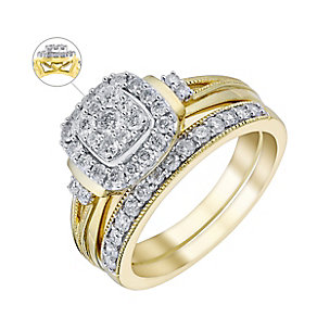 Perfect Fit 9ct Yellow Gold 2/3 Carat Diamond Bridal Set - Product number 3622703