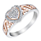 Open Hearts By Jane Seymour Silver & Rose Gold Diamond Ring - Product number 3623734