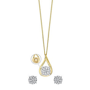 9ct Yellow Gold 1/4 Carat Diamond Earring & Pendant Set - Product number 3624137